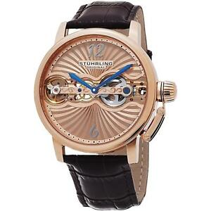 Stuhrling-Doppler-Men-039-s-Brown-Calfskin-Stainless-Steel-Case-Watch-729-04