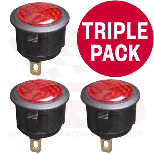 TRIPLE PACK RED 12 Volt LED Warning Light Race Rally Off Road Kit Drift Car