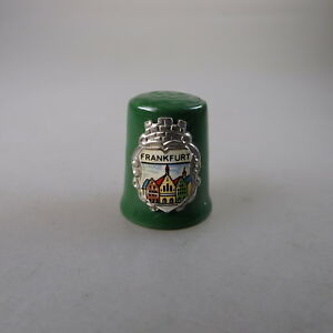 Älterer Andenkenfingerhut Frankfurt Grünes Porzellan (47364) GroßEr Ausverkauf