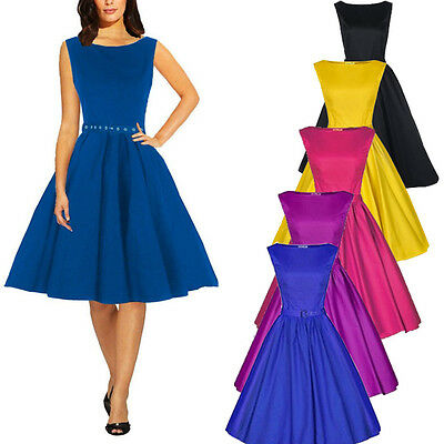 Women Ladies 50s 60s Retro Rockabilly Swing Prom Gown Ball Party Evening Dress