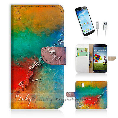 ( For Samsung S4 ) Wallet Case Cover! Abstract Painting P0319