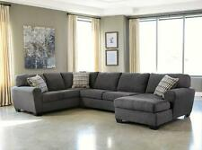 FLORES - Large Modern Gray Microfiber Living Room Sofa Couch Sectional Set New