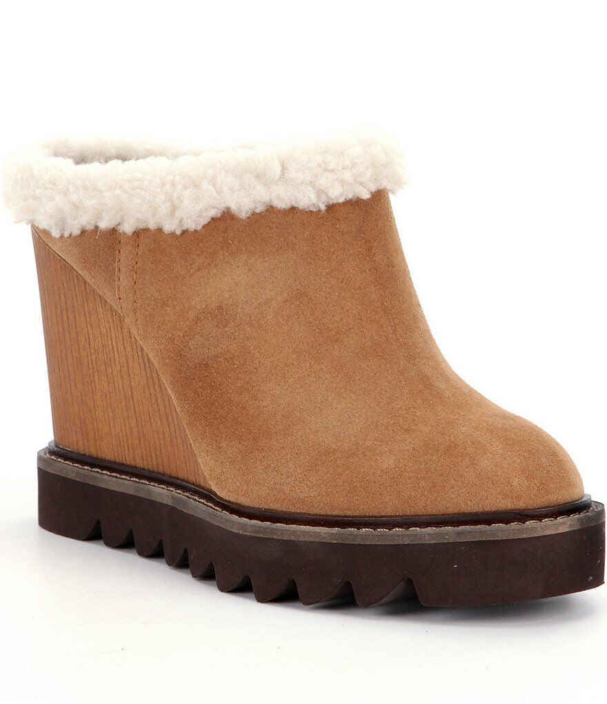 BCBGeneration BCBG Nerissa Sandlewood SUEDE Shearling lined Wedge Mules 8.5 & 9