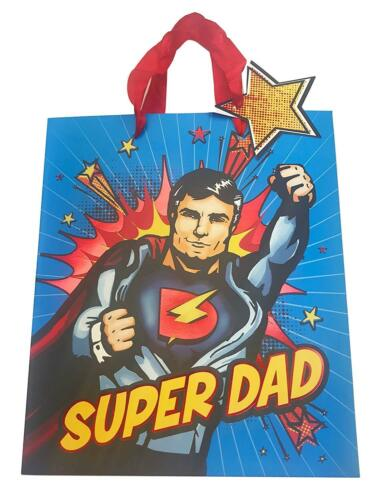 Super Dad Hero Comic Gift Bag Medium// large Fathers Day Present Carrier Holder