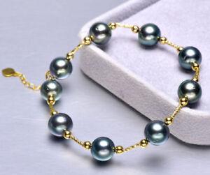 7-5-8-034-Stunning-AAA-8-9mm-real-natural-Tahitian-black-round-pearl-bracelet-18k
