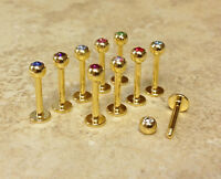 10pc Wholesale Lot 24kt Gold Plated 316l Steel Labrets Monroes Body Jewelry