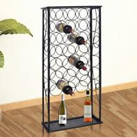 Black Wine Rack Bottle Holder Storage Metal Bar Pub Cellar 28 Bottles Display