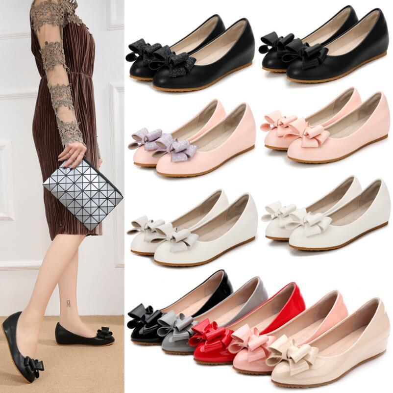 Women''s Patent Leather Pointy Toe Slip On Loafers Hidden Heels Bow-knot  shoes
