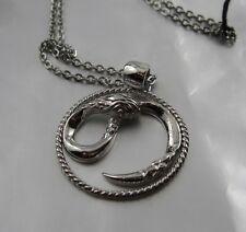 Just Cavalli Halskette 42 cm Silberne Schlange im Kreis Designer Schmuck JC7