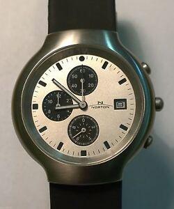 NEU-Original-Norton-Quarz-Chonograph-Armbanduhr-matt-m-Lederband-Klassisch