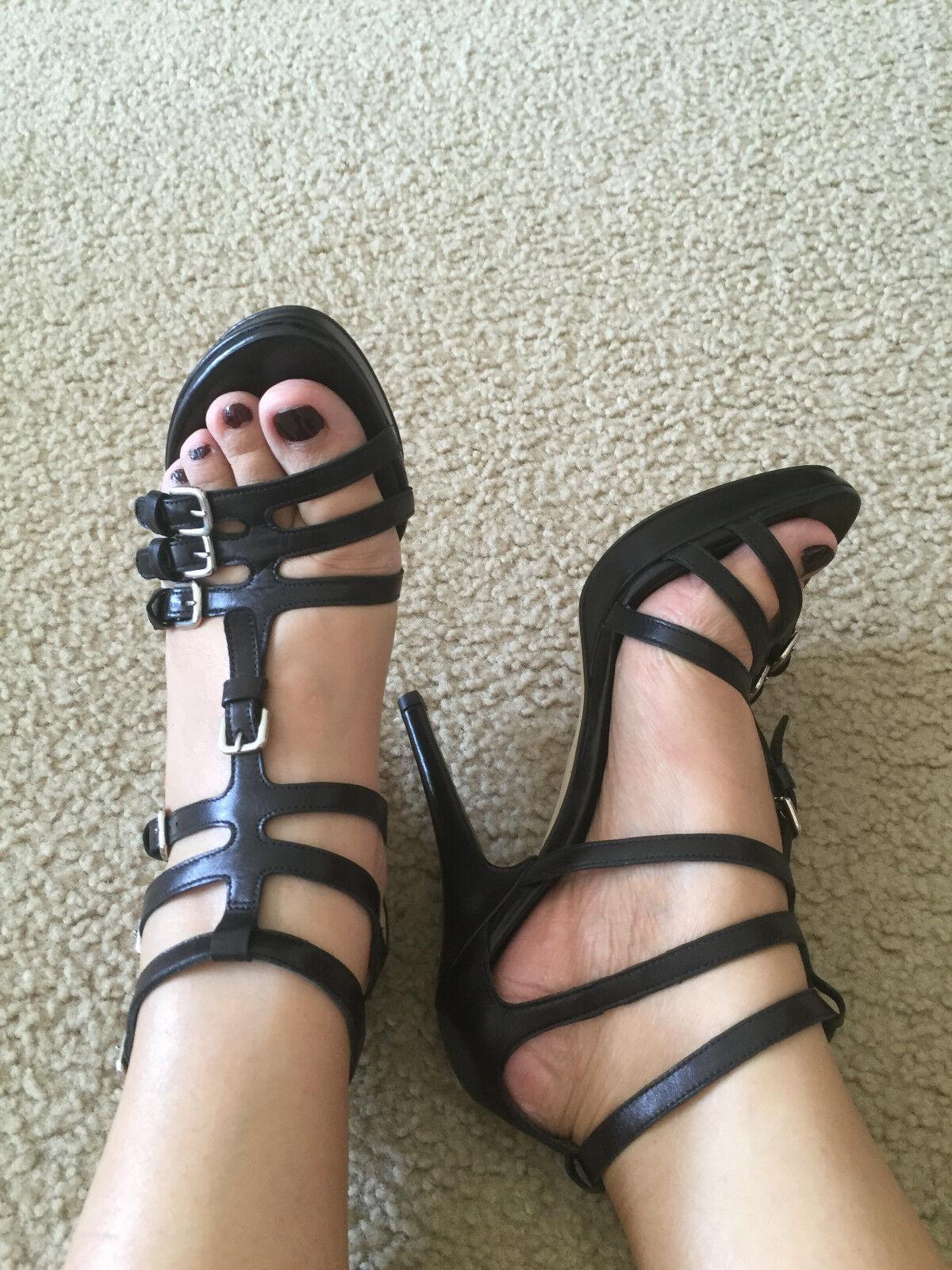 NIB Stuart Weitzman grantee Platform Sandal black calf 8