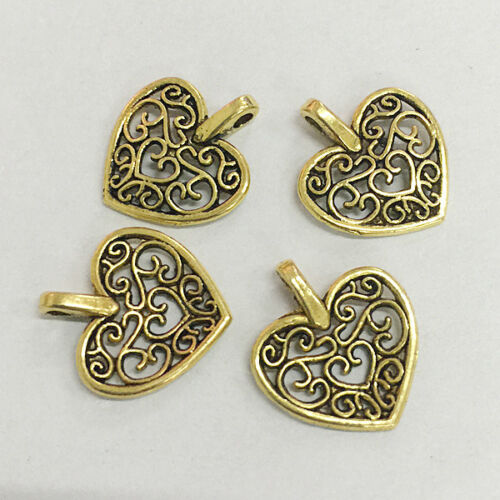 25pcs dark gold color heart shaped beautiful charms for bracelet  h0239