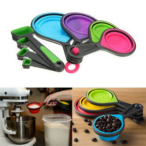 Safe-Healthy-Silicone-Measuring-Cups-Spoons-Kitchen-Tool-Collapsible-Baking-3C