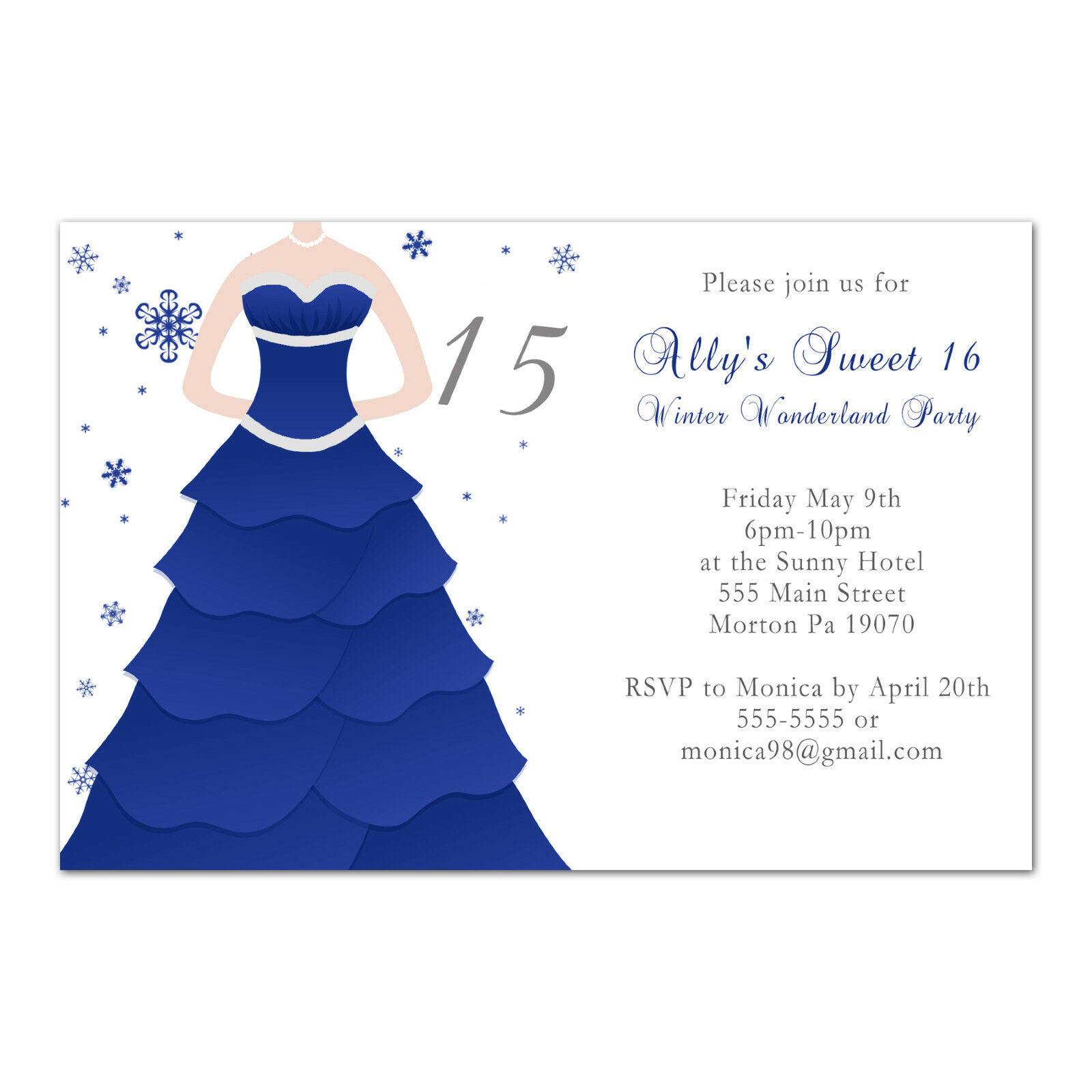 50 Blau Sweet 16 Birthday Invitations 15 Quinceanera Party Blau 50