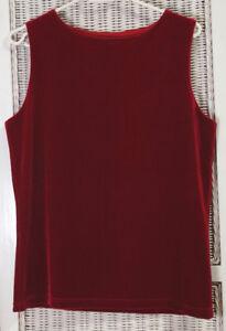 LAURA-ASHLEY-Vintage-Sleeveless-Velour-Stretch-Top-M-Cranberry-Red-Velvety-Shirt