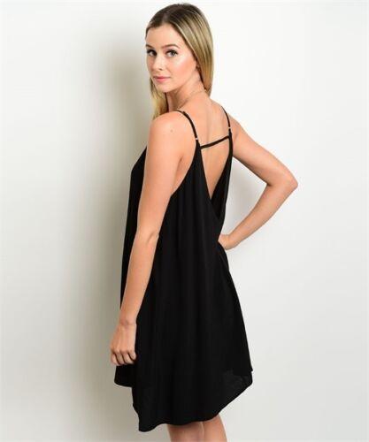 L VERY J Black Spaghetti Strap and Cutout Yoke Summer Beach Party Dress M S