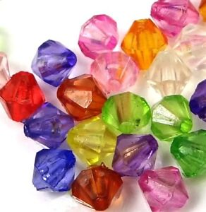 6mm Mixed Color Lucite Bicone Transparent Acrylic Beads spacer (100 pcs)