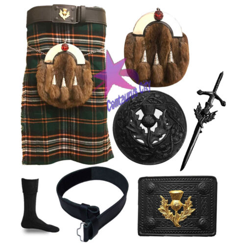 CC Scottish Pride of Ireland 5 Yd environ 4.57 m Kilt Highland Full Dress Sporran Ensemble 7 pièces afficher le titre d'origine