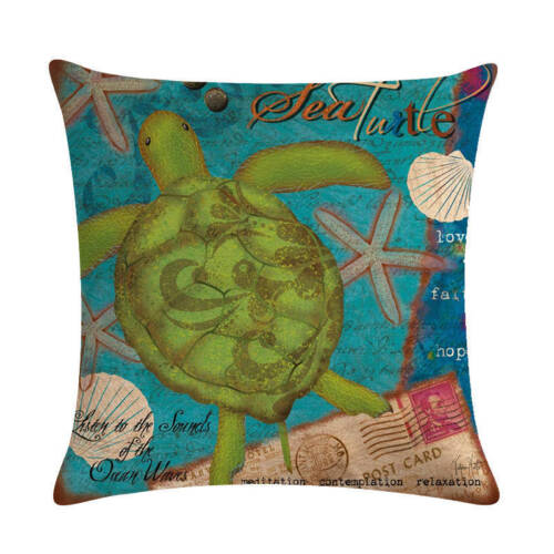 """18/"""" Cushion Cover Conch Coral Ocean Animal Style Linen Throw Couch Pillow Cover"""