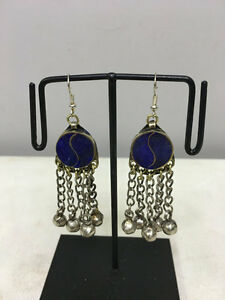 Earrings-Lapis-Dangle-Silver-Bells-Middle-Eastern-Dangle-Earrings-E167
