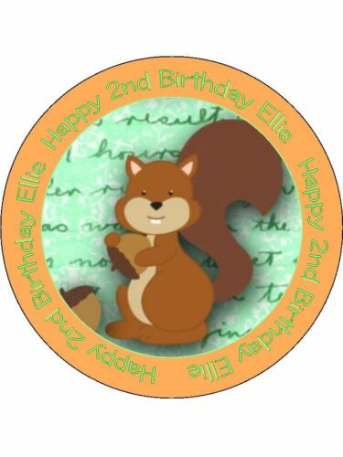 60 Personnalisé Comestible Gaufre Cup Cake Toppers squirrell Woodland Uncut