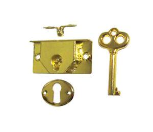 M-1880 Brass Plated Half Mortise Jewelry Box Lock Set ...