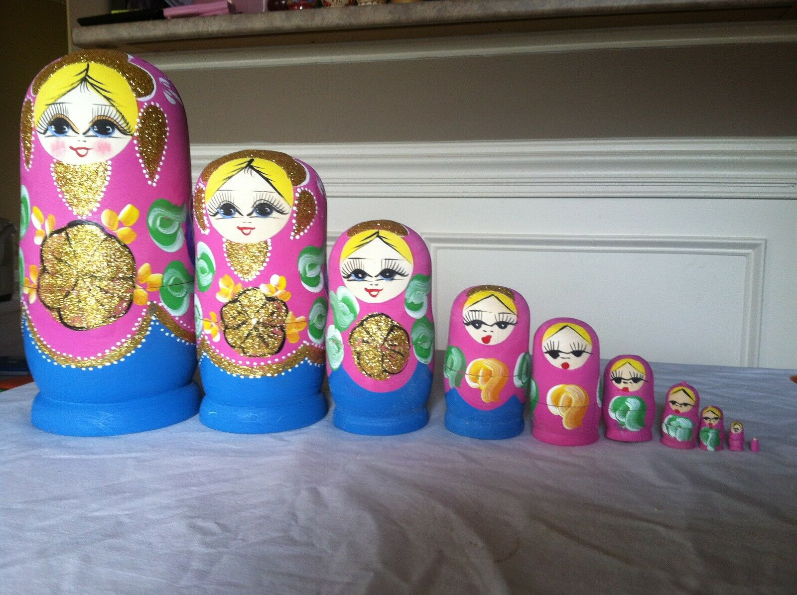 5 russian nesting doll Set Of 10 Hand made 10.5 inchs tall rosa US Seller