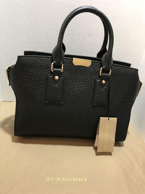 12cf3b25b914 NEW Burberry Medium CLIFTON Leather Tote Satchel Crossbody Shoulder Bag  Black