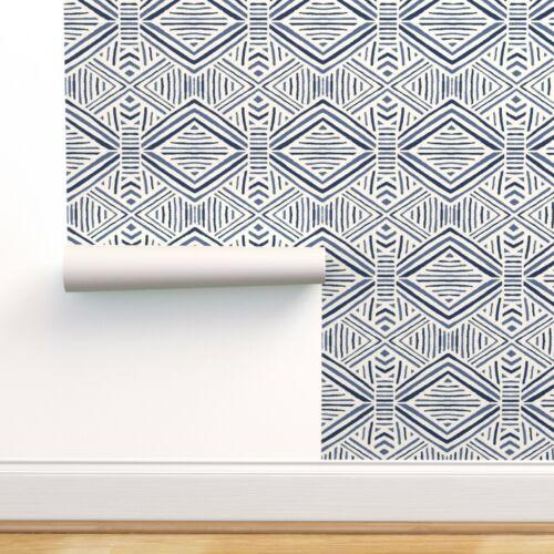 Peel-and-Stick Removable Wallpaper Blue Tribal Geometric Navy Marker Pen