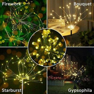 150 120 90 LED Solar Powered Firework Starburst Stake Fairy Light Garden Wedding