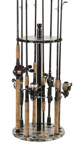 Fishing Rod Rack Spinning Standing Organizer Holder Floor Round Garage Storage
