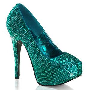muy agradable nuevo barato comprar popular Bordello Sexy Rhinestone Azul turquesa Zapatos de plataforma 6 ...