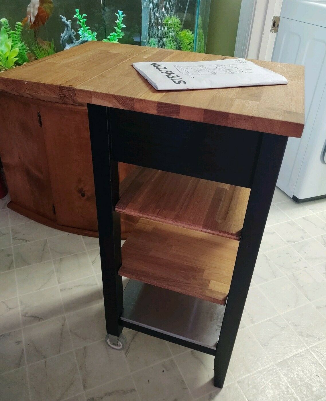 IKEA Stenstorp Kitchen Cart Black Oak Stainless Steel - Kitchen Island