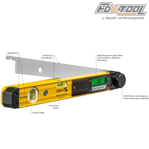 Stabila Elektronik-Winkelmesser TECH700DA 80cm Wasserwaage Nachfolge AWM Digital