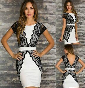 Sz-S-8-10-White-Lace-Cap-sleeve-Bodycon-Club-Cocktail-Party-Slim-Sexy-Mini-Dress