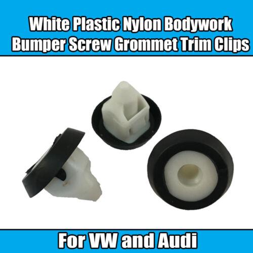 20x Clips For VW Audi White Plastic Nylon Bodywork Bumper Screw Grommet Trim