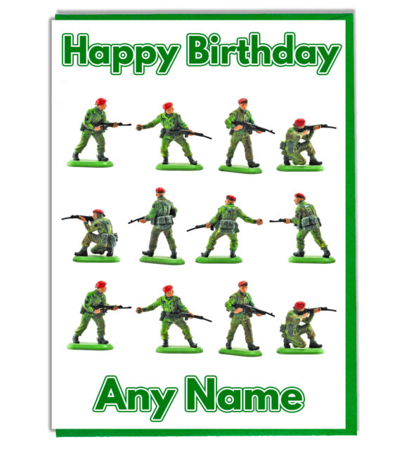 Personalised Army Toy Soldiers Birthday Card Son Daughter Dad