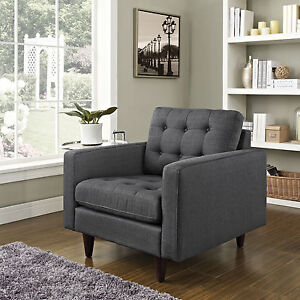EMPRESS UPHOLSTERED ARMCHAIR Tufted Buttons Plush Cushions & Armrests Wood Legs