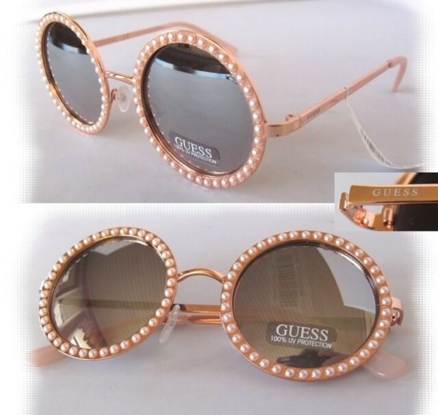 0850d1b95cac GUESS Women s Sunglasses Gf0336 28u Rose Gold mirror Faux Pearl for ...