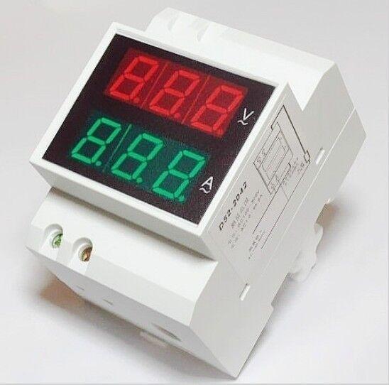 Dual display AC DIN RAIL Meter 100A Ammeter AC Voltmeter 240v 380V 200V-450V