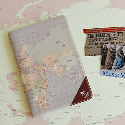Free ship NEW UK World Map Passport Case Holder Credit Card Cover Travel wallet