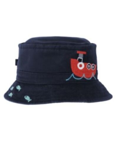 GYMBOREE GO NAUTICAL NAVY OCEAN SCENIC BUCKET HAT 0 12 24 2T 3T NWT-OT