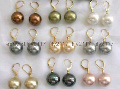 Wholesale 9Colors Fashion South Sea Shell Pearl 12mm Round Beads Earrings
