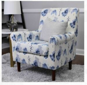 Blue Floral Upholstered Armchair Accent Chair Bedroom ...