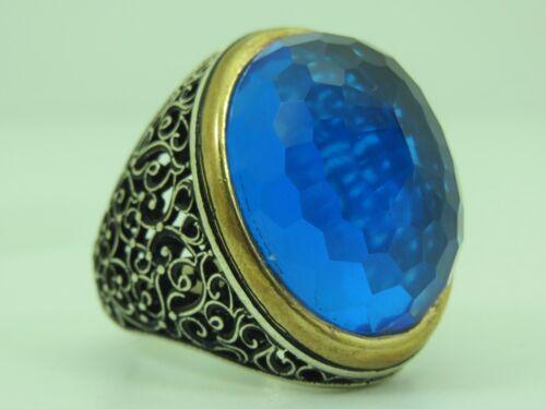 Turkish Handmade Jewelry 925 Sterling Silver Aquamarine Stone Men/'s Ring Sz 11