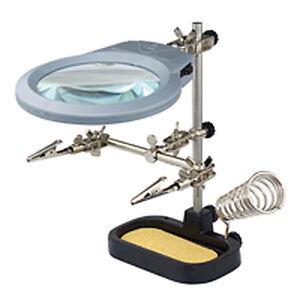 Tercera políticamente helping 3 mano luz LED soldadura lupa placas soporte löthilfe  </span>