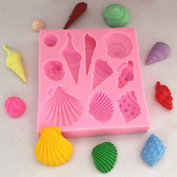 Silicone 3D Starfish & Sea Shells Mould Fondant Cake Chocolate Molds Decor Tools