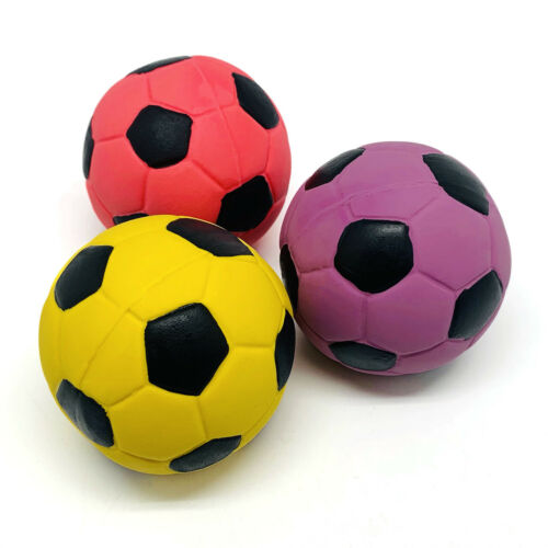 3 Pack 2.7/'/' Medium Soft Squeaky Dog Toys Soccer Ball Bounce Interactive Play