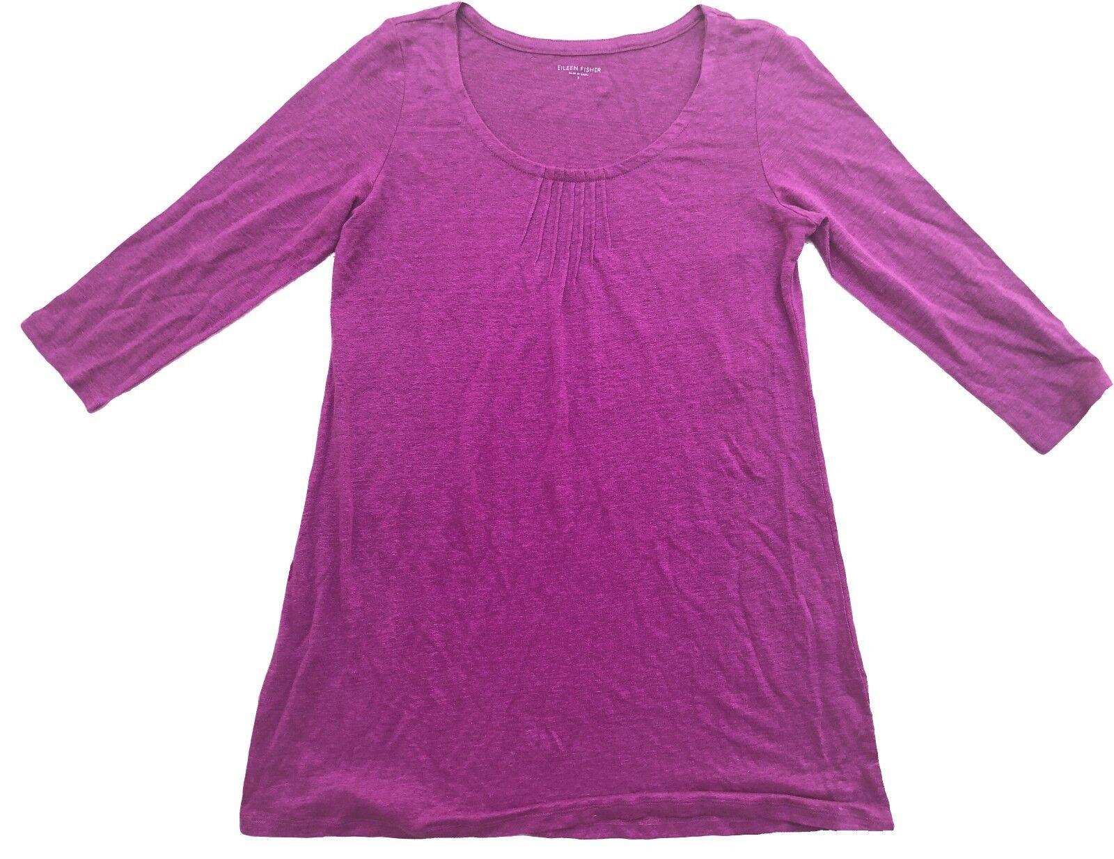 158 Eileen Fisher Linen Jersey Magenta Pintuck Scoop Neck Tunic Top