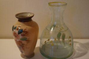 Victorian hand painted baluster vase and clear glass bulbous vase - Edinburgh, United Kingdom - Victorian hand painted baluster vase and clear glass bulbous vase - Edinburgh, United Kingdom